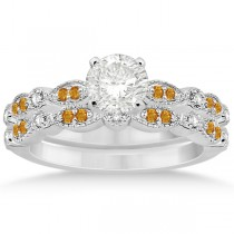 Marquise & Dot Citrine & Diamond Bridal Set 14k White Gold (0.49ct)