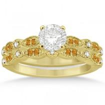 Marquise & Dot Citrine & Diamond Bridal Set 14k Yellow Gold (0.49ct)