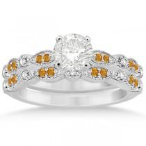 Marquise & Dot Citrine & Diamond Bridal Set 18k White Gold (0.49ct)