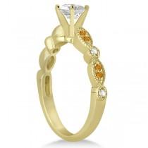 Marquise & Dot Citrine & Diamond Bridal Set 18k Yellow Gold (0.49ct)
