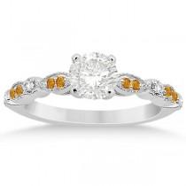 Marquise & Dot Citrine & Diamond Bridal Set Platinum (0.49ct)