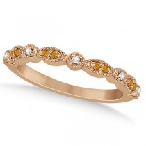 Marquise & Dot Citrine & Diamond Wedding Band 14k Rose Gold 0.25ct