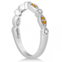 Marquise & Dot Citrine & Diamond Wedding Band 14k White Gold 0.25ct
