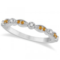 Marquise & Dot Citrine & Diamond Wedding Band 18k White Gold 0.25ct