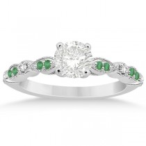 Emerald & Diamond Marquise Engagement Ring 14k White Gold (0.20ct)