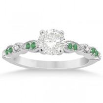 Emerald & Diamond Marquise Engagement Ring 14k White Gold (0.20ct)