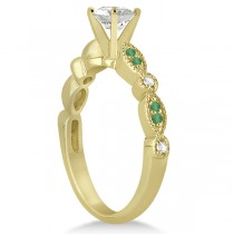 Emerald & Diamond Marquise Engagement Ring 14k Yellow Gold (0.20ct)