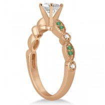 Emerald & Diamond Marquise Engagement Ring 18k Rose Gold (0.20ct)
