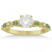 Emerald & Diamond Marquise Engagement Ring 18k Yellow Gold (0.20ct)