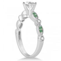 Emerald & Diamond Marquise Engagement Ring Palladium (0.20ct)
