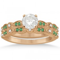 Petite Emerald & Diamond Marquise Bridal Set 14k Rose Gold (0.41ct)