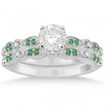 Petite Emerald & Diamond Marquise Bridal Set 14k White Gold (0.41ct)