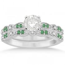Petite Emerald & Diamond Marquise Bridal Set 14k White Gold (0.41ct)