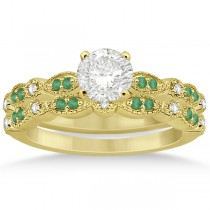 Petite Emerald & Diamond Marquise Bridal Set 14k Yellow Gold (0.41ct)