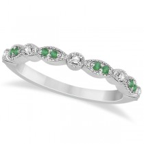 Petite Emerald & Diamond Marquise Wedding Band 14k White Gold 0.21ct