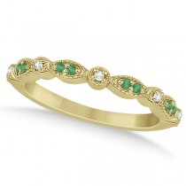 Petite Emerald & Diamond Marquise Wedding Band 14k Yellow Gold 0.21ct