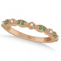 Petite Emerald & Diamond Marquise Wedding Band 18k Rose Gold 0.21ct