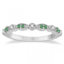 Petite Emerald & Diamond Marquise Wedding Band 18k White Gold 0.21ct
