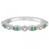 Petite Emerald & Diamond Marquise Wedding Band Platinum 0.21ct