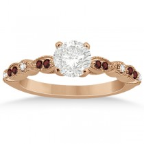 Marquise & Dot Garnet & Diamond Engagement Ring 14k Rose Gold 0.24ct