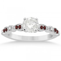 Marquise & Dot Garnet & Diamond Engagement Ring 14k White Gold 0.24ct