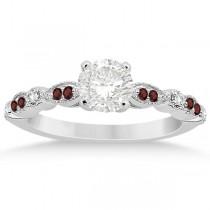 Marquise & Dot Garnet & Diamond Engagement Ring 14k White Gold 0.24ct