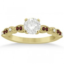 Marquise & Dot Garnet & Diamond Engagement Ring 14k Yellow Gold 0.24ct