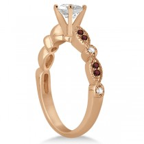 Marquise & Dot Garnet & Diamond Engagement Ring 18k Rose Gold 0.24ct