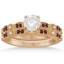Marquise and Dot Garnet & Diamond Bridal Set 14k Rose Gold (0.49ct)