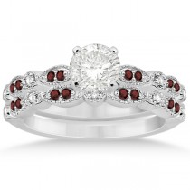 Marquise and Dot Garnet & Diamond Bridal Set 14k White Gold (0.49ct)