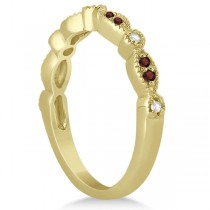 Marquise and Dot Garnet & Diamond Bridal Set 14k Yellow Gold (0.49ct)