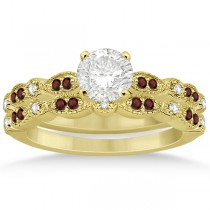 Marquise and Dot Garnet & Diamond Bridal Set 18k Yellow Gold (0.49ct)
