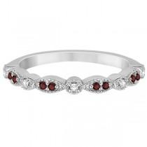 Marquise and Dot Garnet & Diamond Wedding Band 14k White Gold 0.25ct