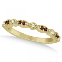 Marquise and Dot Garnet & Diamond Wedding Band 14k Yellow Gold 0.25ct