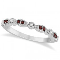 Marquise and Dot Garnet & Diamond Wedding Band 18k White Gold 0.25ct