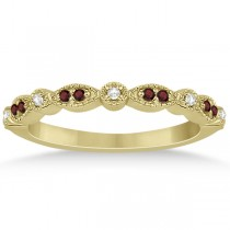 Marquise and Dot Garnet & Diamond Wedding Band 18k Yellow Gold 0.25ct