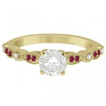 Ruby & Diamond Marquise Engagement Ring 18k Yellow Gold (0.20ct)