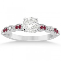 Ruby & Diamond Marquise Engagement Ring Palladium (0.20ct)