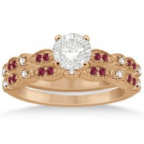 Ruby & Diamond Marquise Bridal Set 14k Rose Gold (0.41ct)