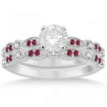 Ruby & Diamond Marquise Bridal Set 14k White Gold (0.41ct)