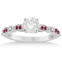 Ruby & Diamond Marquise Bridal Set 14k White Gold (0.41ct)