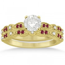 Ruby & Diamond Marquise Bridal Set 14k Yellow Gold (0.41ct)