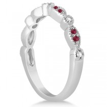Ruby & Diamond Marquise Wedding Band 18k White Gold (0.21ct)