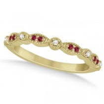 Ruby & Diamond Marquise Wedding Band 18k Yellow Gold (0.21ct)