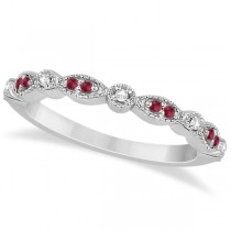 Ruby & Diamond Marquise Wedding Band Palladium (0.21ct)