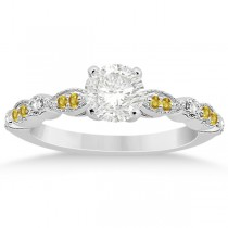 Yellow Sapphire Diamond Marquise Engagement Ring 14k White Gold 0.24
