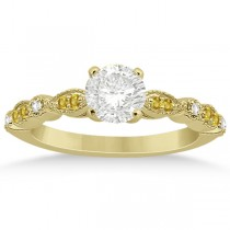 Yellow Sapphire Diamond Marquise Engagement Ring 18k Yellow Gold 0.24