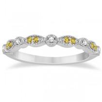 Yellow Sapphire & Diamond Marquise Bridal Set 14k White Gold (0.49ct)