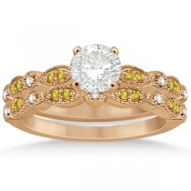 Yellow Sapphire & Diamond Marquise Bridal Set 18k Rose Gold (0.49ct)