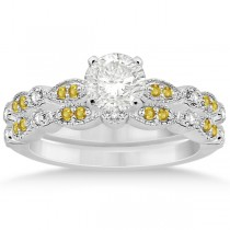 Yellow Sapphire & Diamond Marquise Bridal Set 18k White Gold (0.49ct)